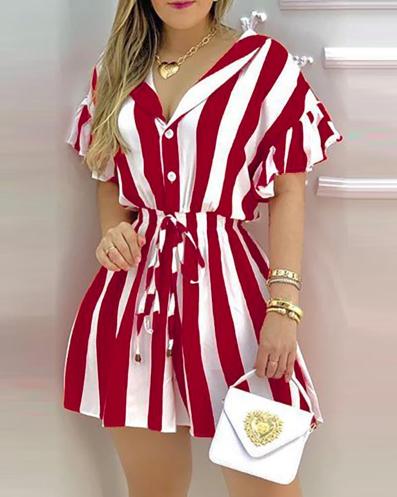 boutiquefeel / Vestido camisero a rayas con volante en bloques de color