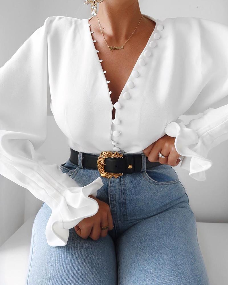Button Front Bell Sleeve Top, White