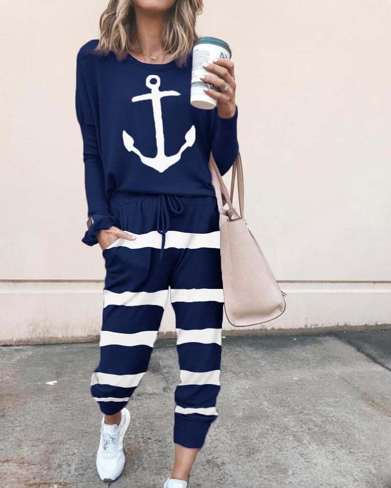 Boat Anchor Print Striped Drawstring Top & Pants Set фото