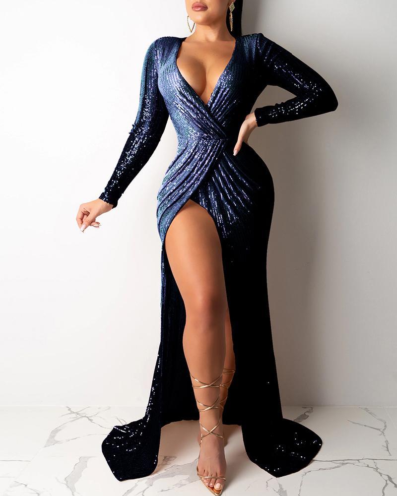Glitter Plunge High Slit Ruched Sequins Dress фото
