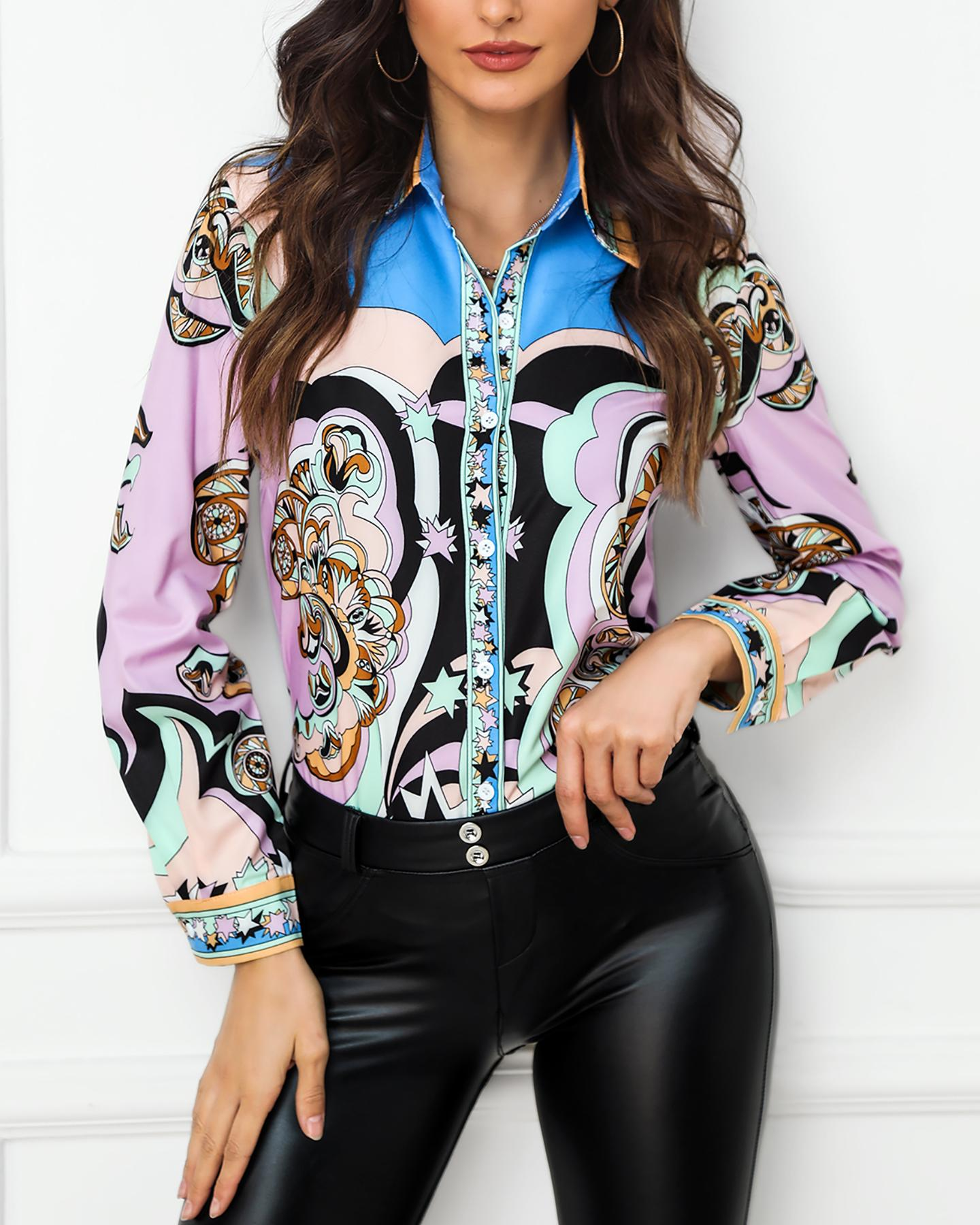 Print Long Sleeve Casual Shirt фото