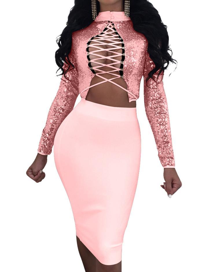 Купить со скидкой Reversible Sequins Lace-Up Cropped Two-Pieces Dress