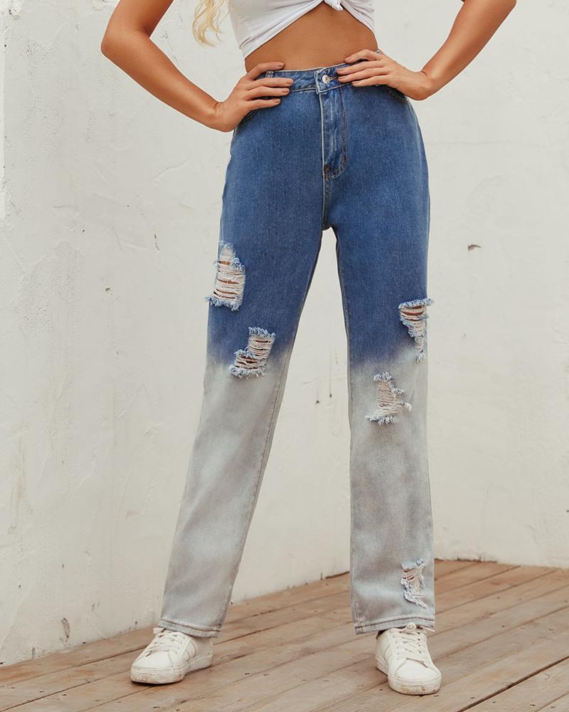 ivrose / Pantalones de mezclilla rotos sueltos rectos con bloques de color
