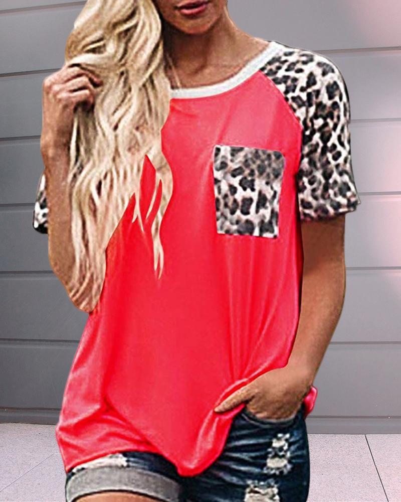 Leopard Print Short Sleeve Pocket T-shirt фото