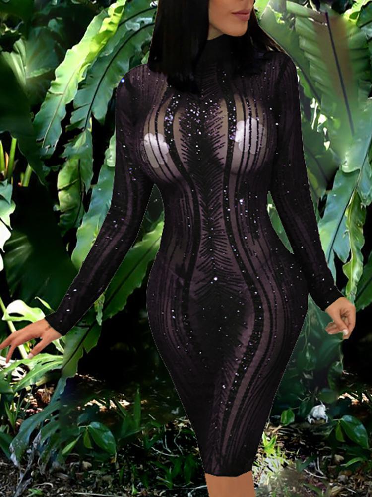 Sequins Embellished Sheer Bodycon Dress