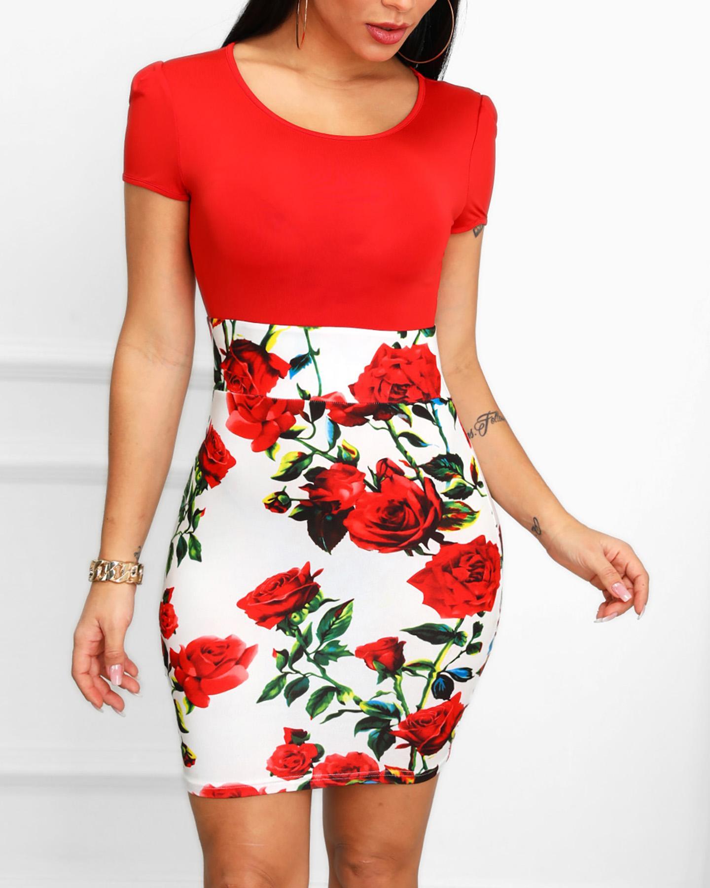 Floral Print Insert Short Sleeve Bodycon Dress фото