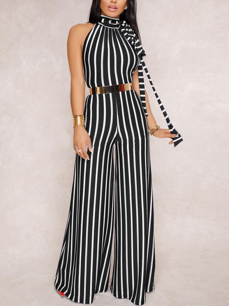 Stripes Halter Open Back Wide Leg Jumpsuits