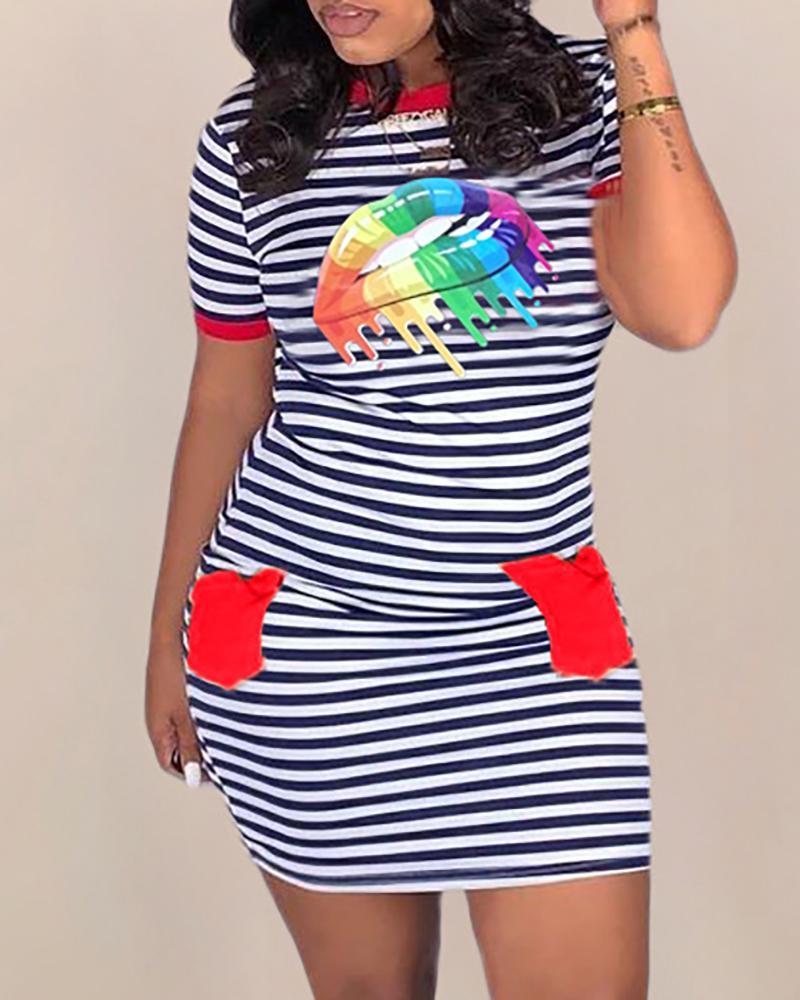Casual Striped Lip Printed Mini Dress фото