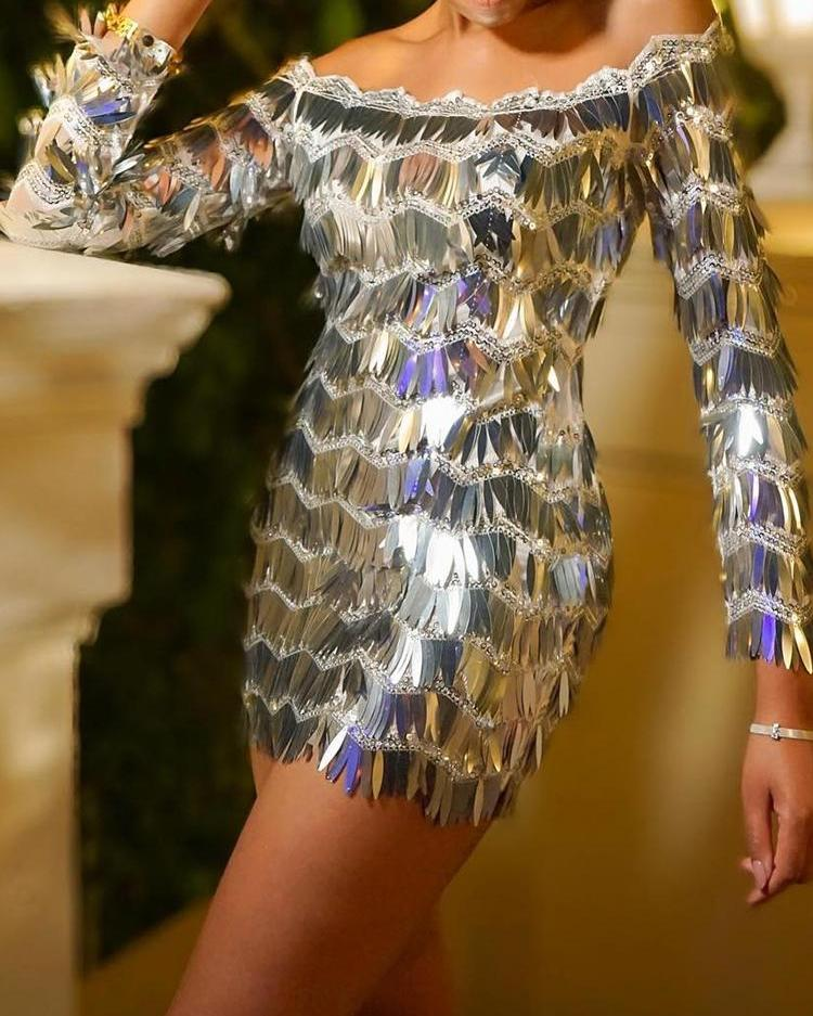 Off Shoulder Long Sleeve Sequin Party Dress