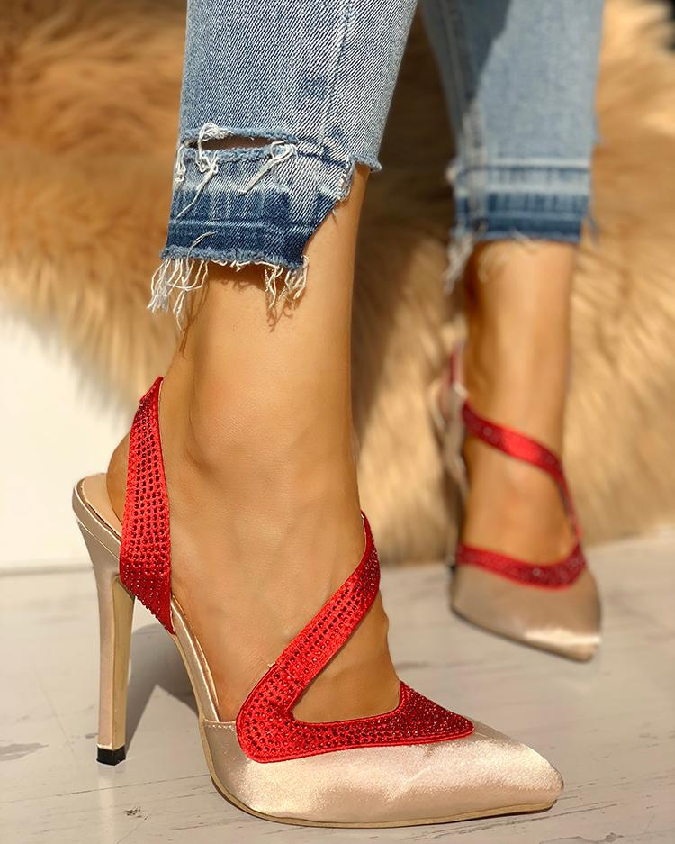 Gem-Studded Splicing Point Toe Thin Heels