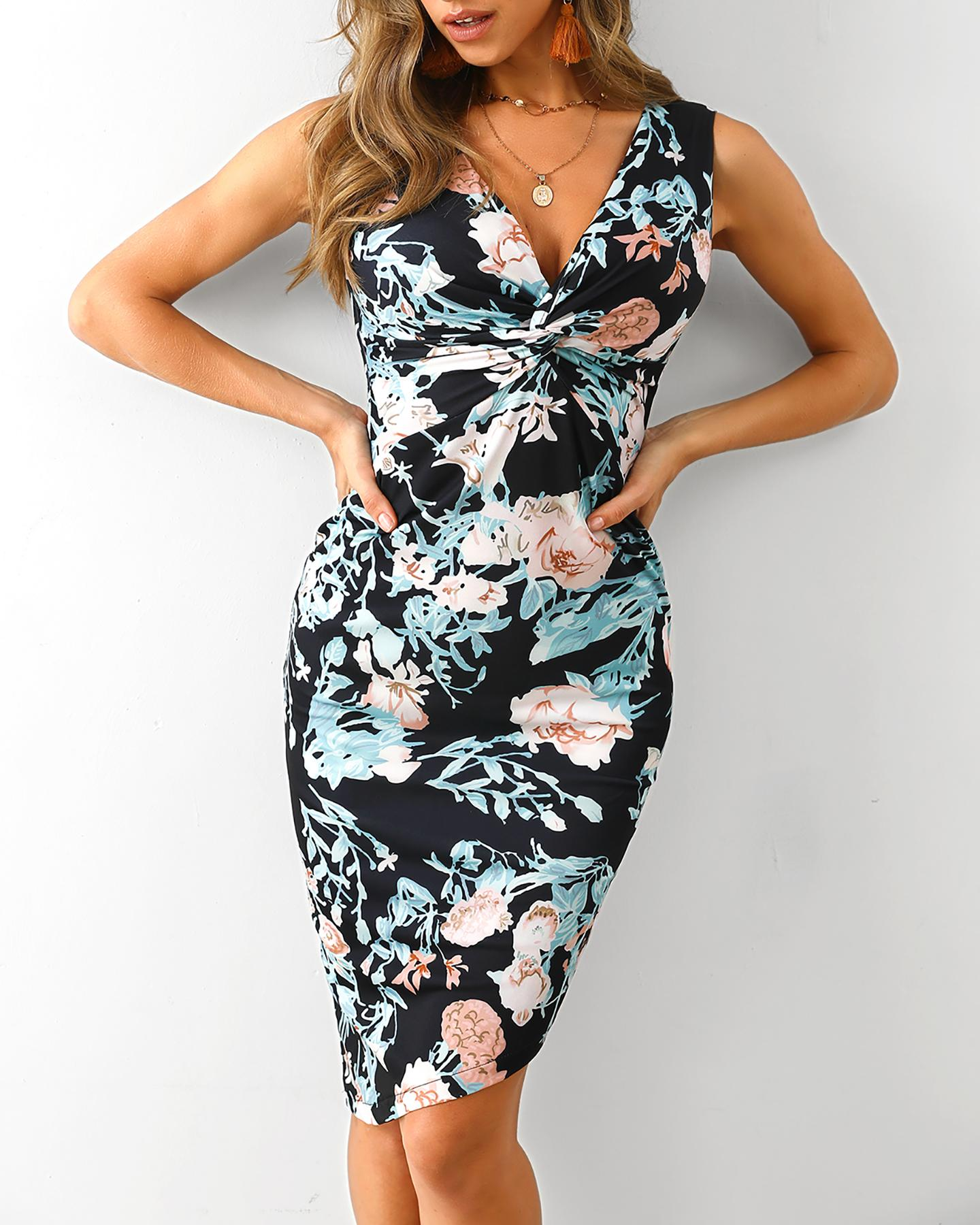 ivrose / Floral Print Twist Front Bodycon Irregular Dress
