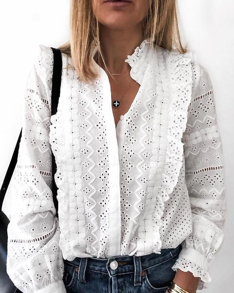 Solid Hollow Out Frills Detail Casual Shirt фото