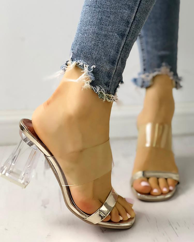Transparent Open Toe Chunky Heeled Sandals