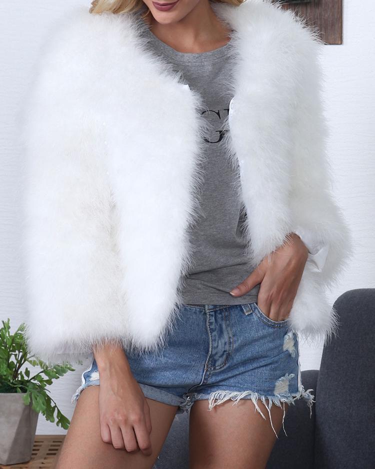 Trendy Plush Cropped Cardigan Coat фото