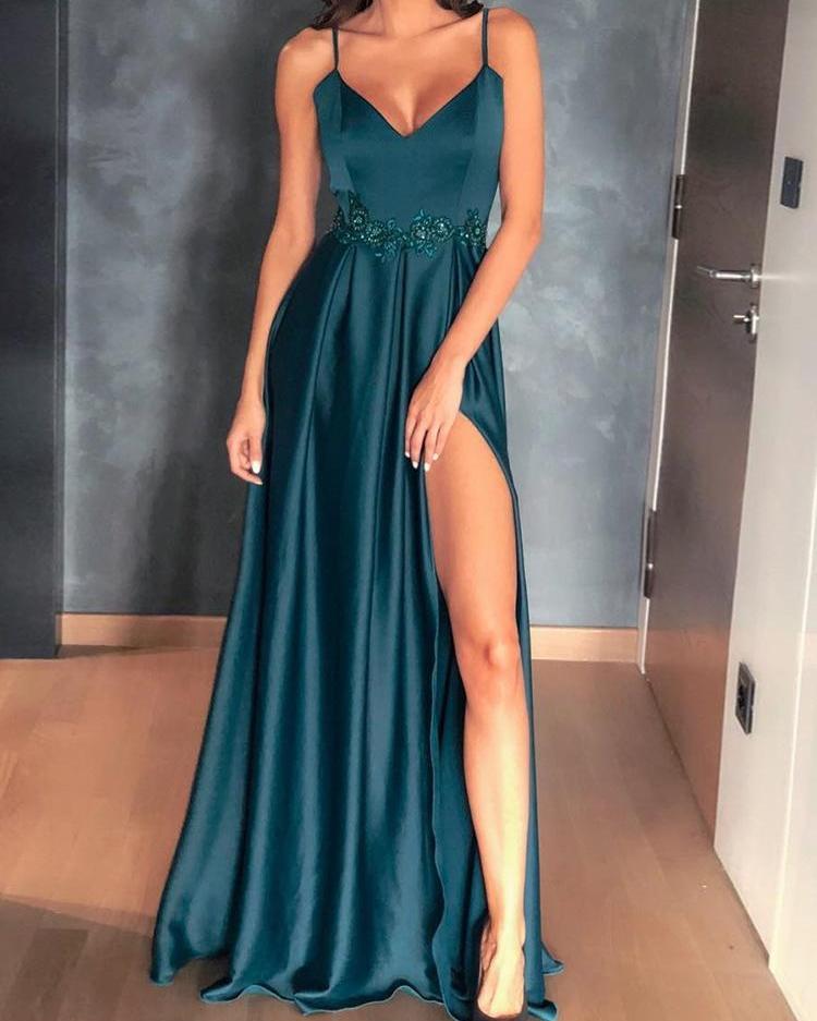 ivrose / Applique Lace Detalhe Coxa Fenda Prom Vestidos Vestido