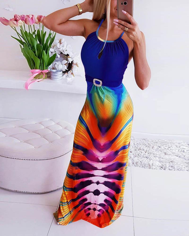 chicme / Vestido largo sin espalda con estampado colorido de criscross sin espalda