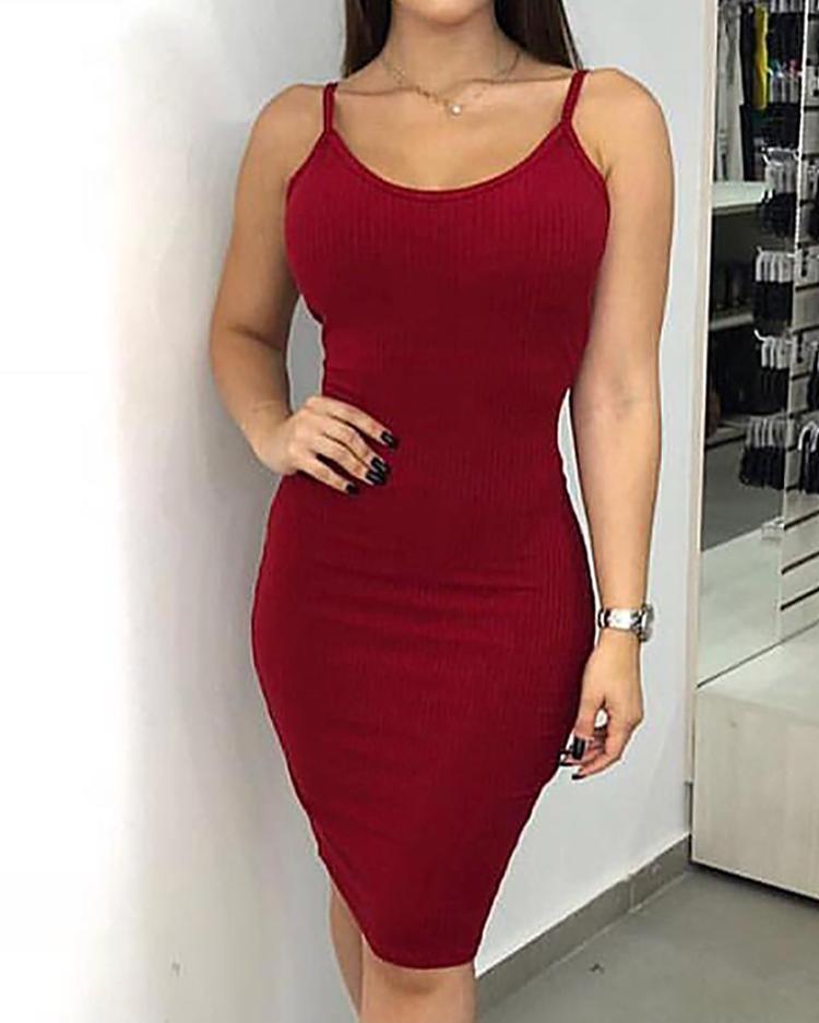 chicme / Vestido de bainha de cinta de espaguete sólido sexy