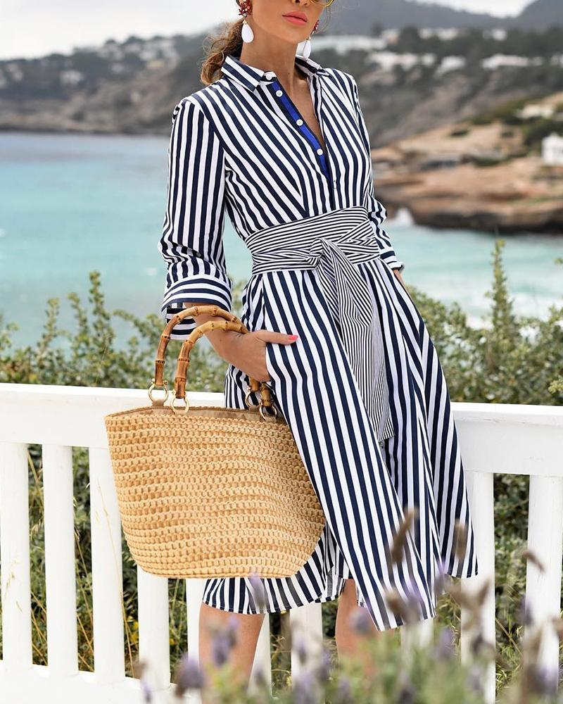 Striped Long Sleeve Knot Waist Shirt Dress