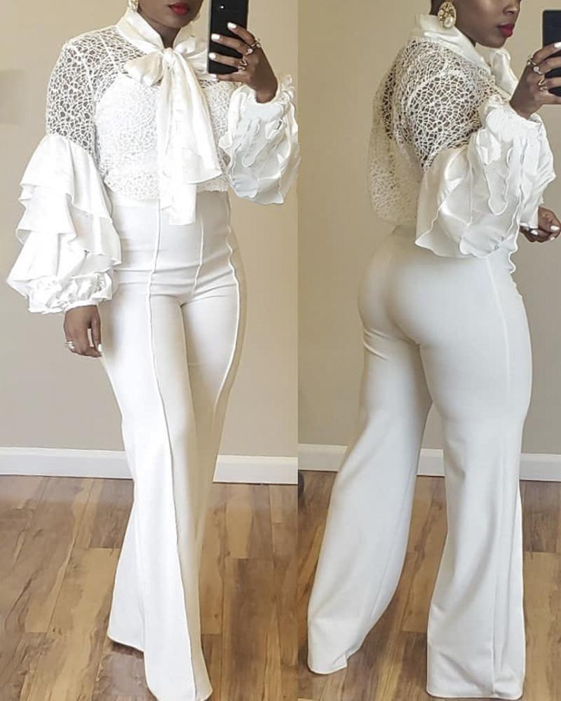 chicme / Blusa de cuello con volantes y manga de malla