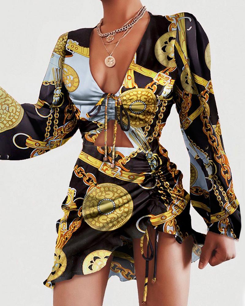 ivrose / Vestido acanalado con diseño de cordón retro estampado