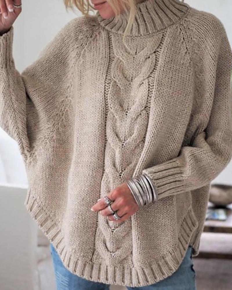 ivrose / Suéter liso con manga de murciélago y cuello alto