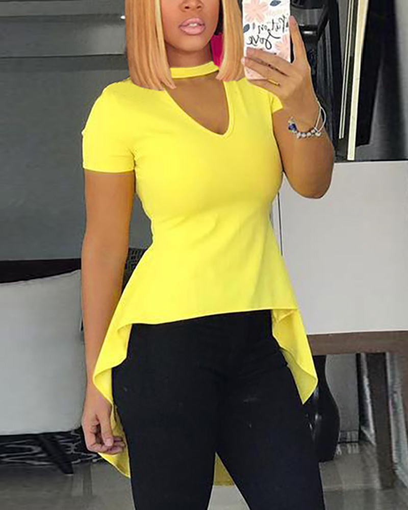 Solid Color Short Sleeve Irregular Hem Tops