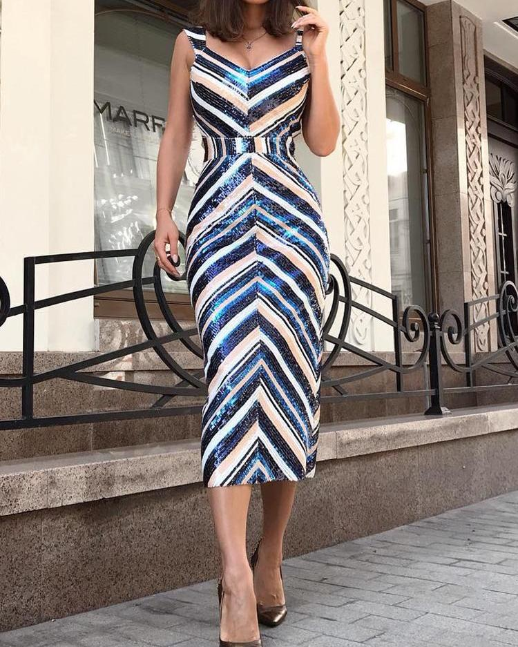 Colorful Striped Thin Strap Sequin Dress фото