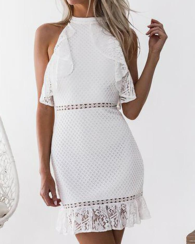 Lace Hollow Out Ruffles Design Bodycon Dress