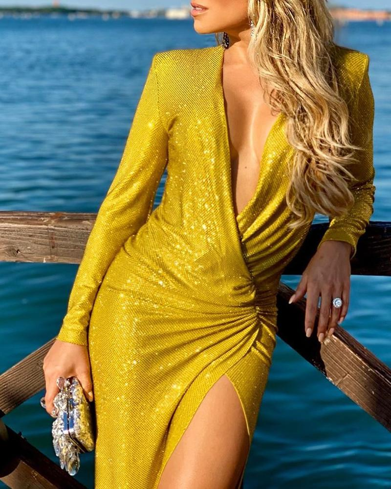 Glitter Surplice Wrap Deep V Ruched Slit Dress фото