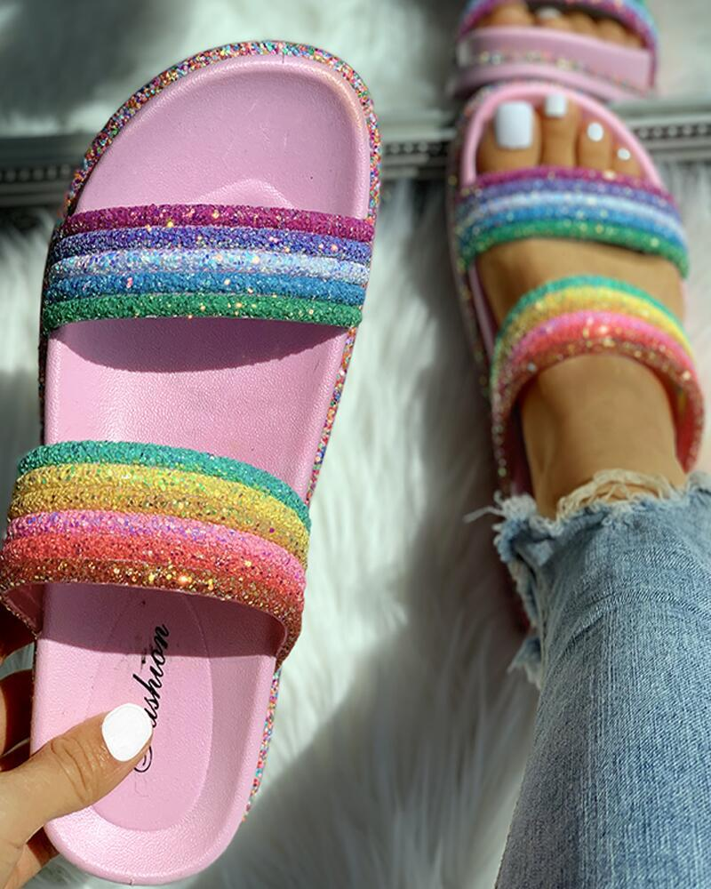 Rainbow Striped Open Toe Flat Slipper фото