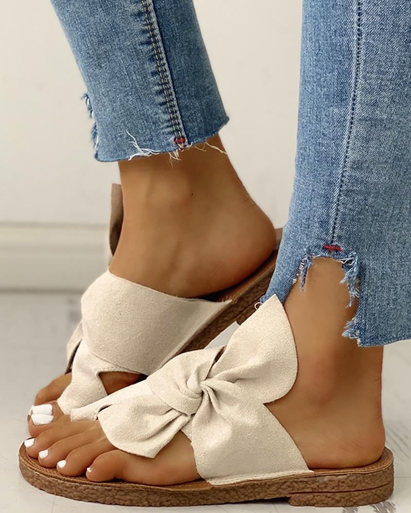 ivrose / Bowknot Toe Ring Non-slip Slippers