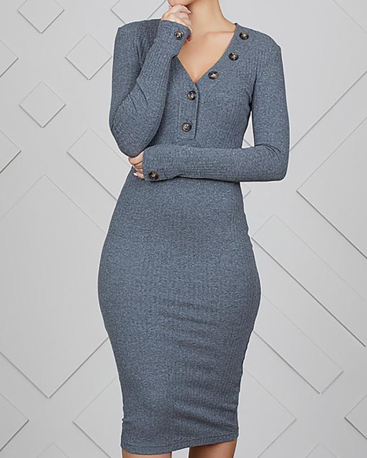 Button Design Long Sleeve Bodycon Dress