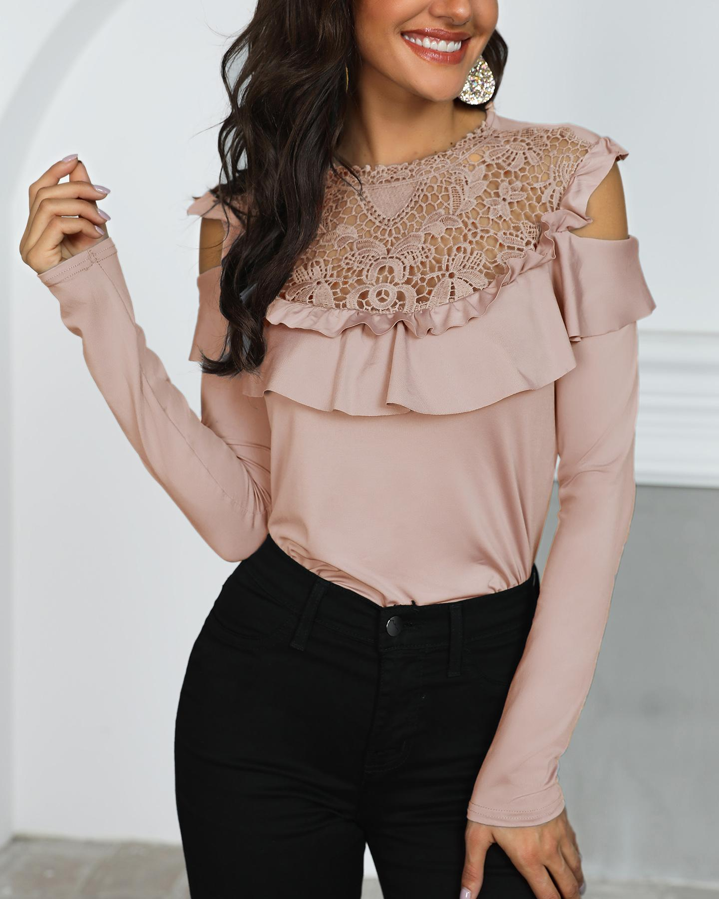Crochet Lace Frills Open Shoulder Blouse фото