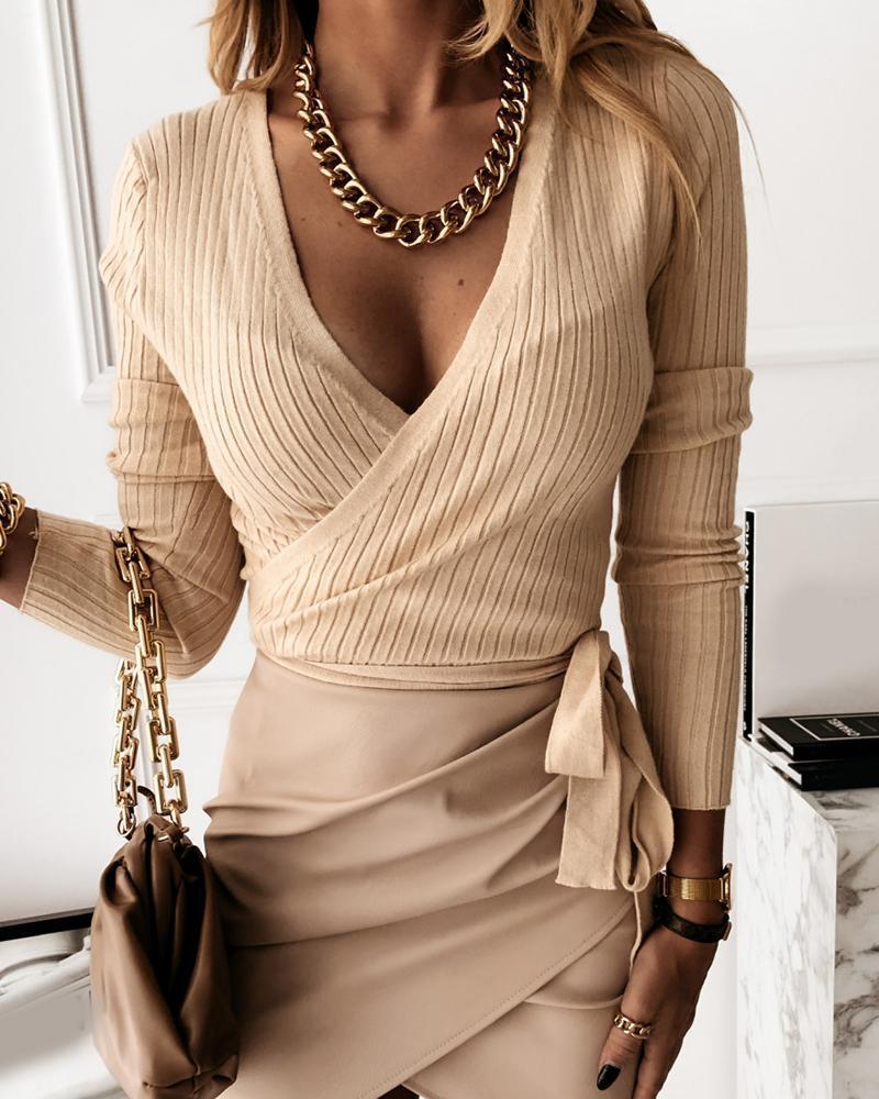 boutiquefeel / Suéter casual de canalé anudado sobrepelliz liso
