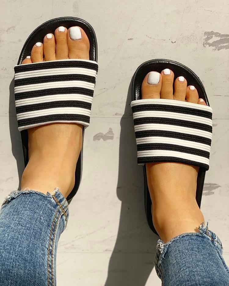 Striped Single Strap Open Toe Flat Sandals, Black