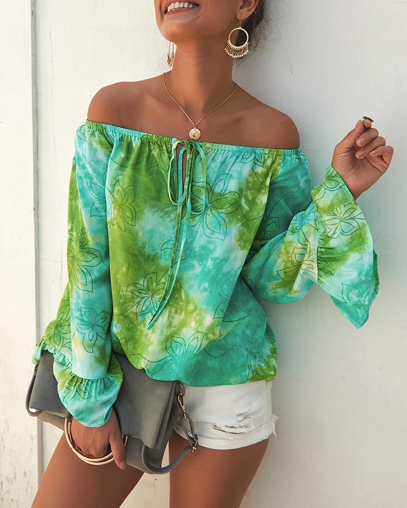Off Shoulder Bell Sleeve Tie Dye Print Blouse