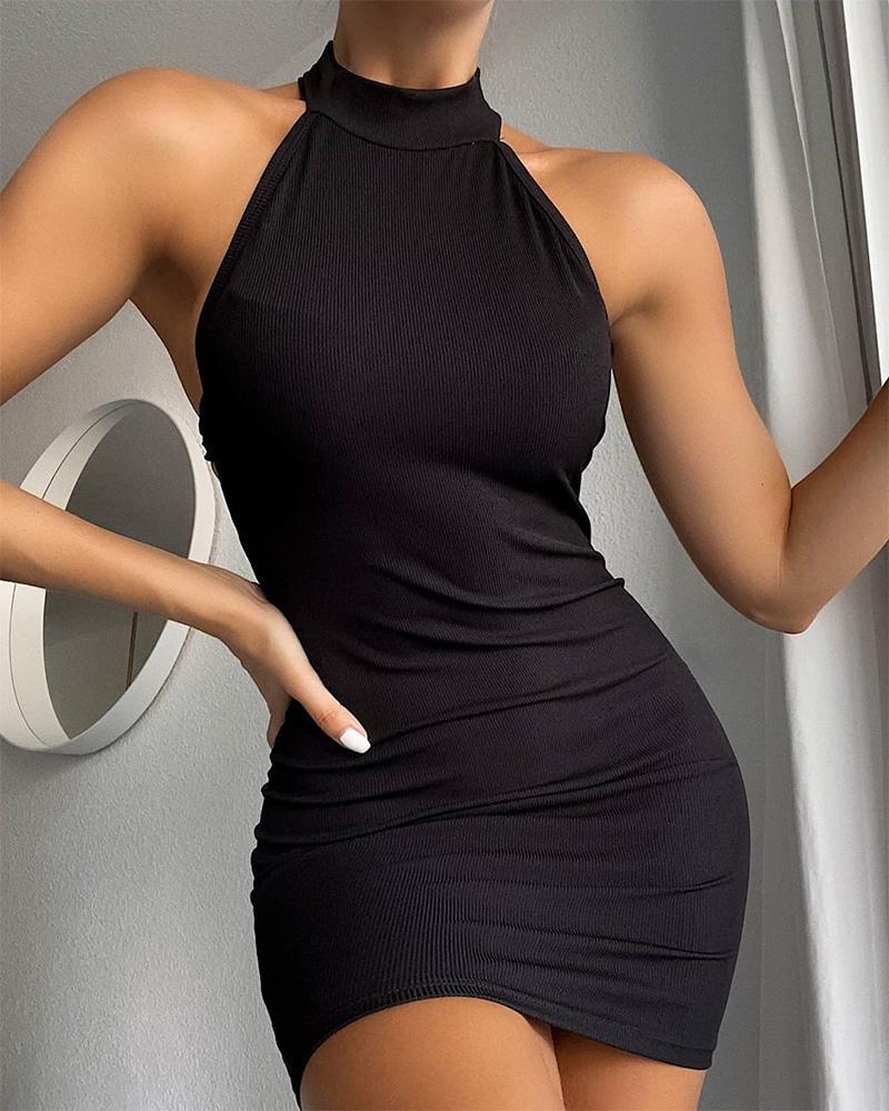 Ribbed Mock Neck Sleeveless Bodycon Dress фото
