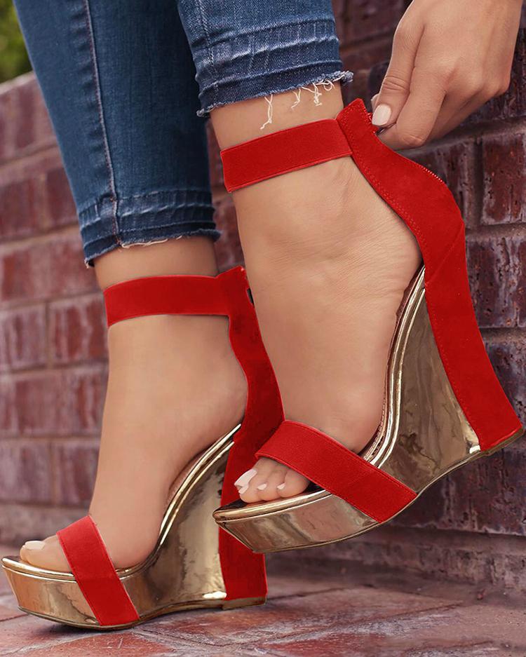 Open Toe Back Zipper Wedges Sandals