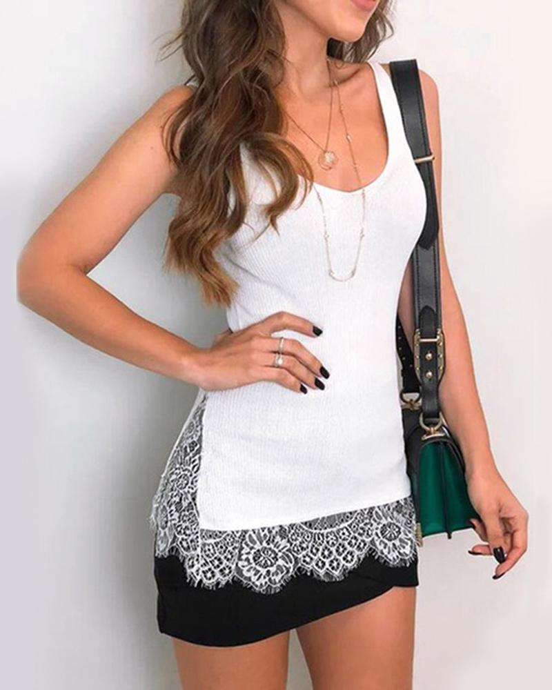 Lace Stitching Cami Top