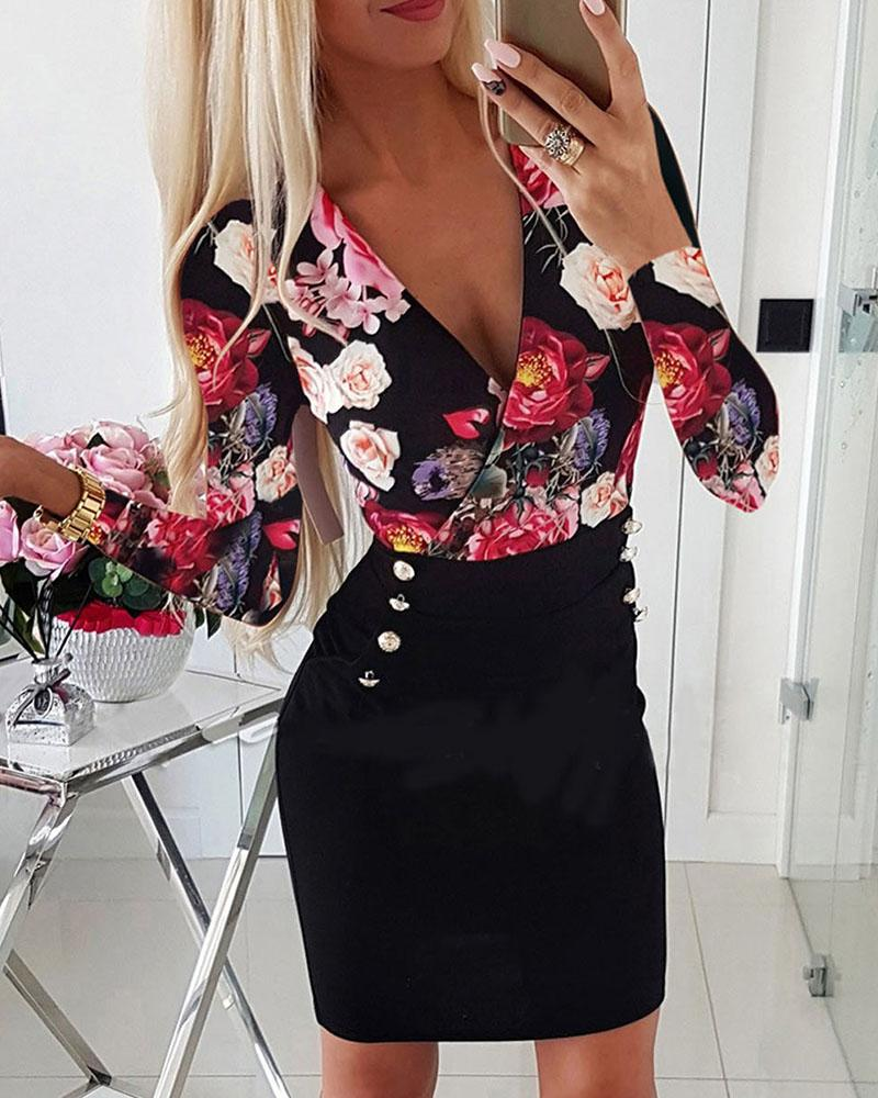 Plunge Floral Print Buttoned Dress фото