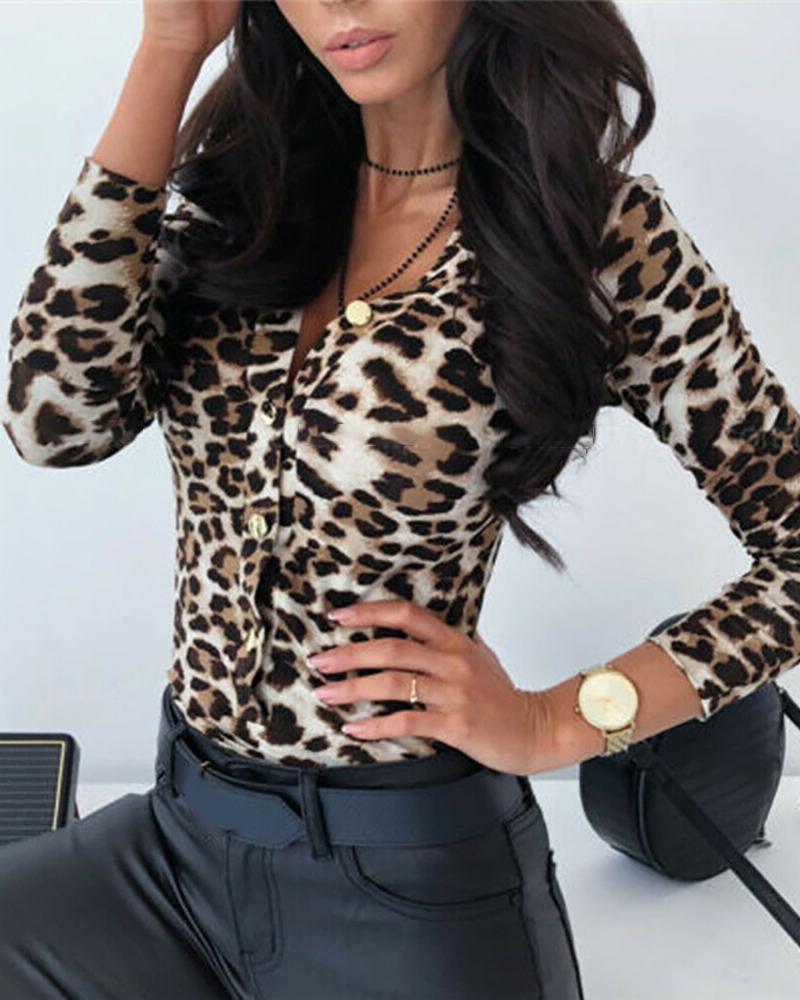 Leopard Print Plunge Buttoned Bodysuit фото