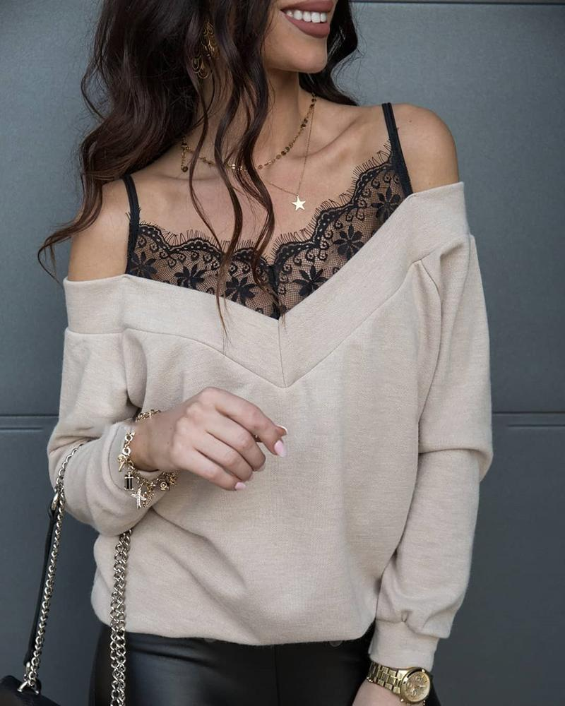 boutiquefeel / Lace Patchwork Spaghetti Strap Cold Shoulder Sweater