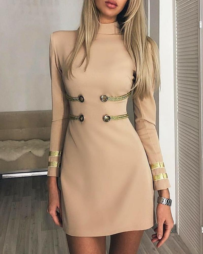 Striped Mock Neck Long Sleeve Bodycon Dress фото