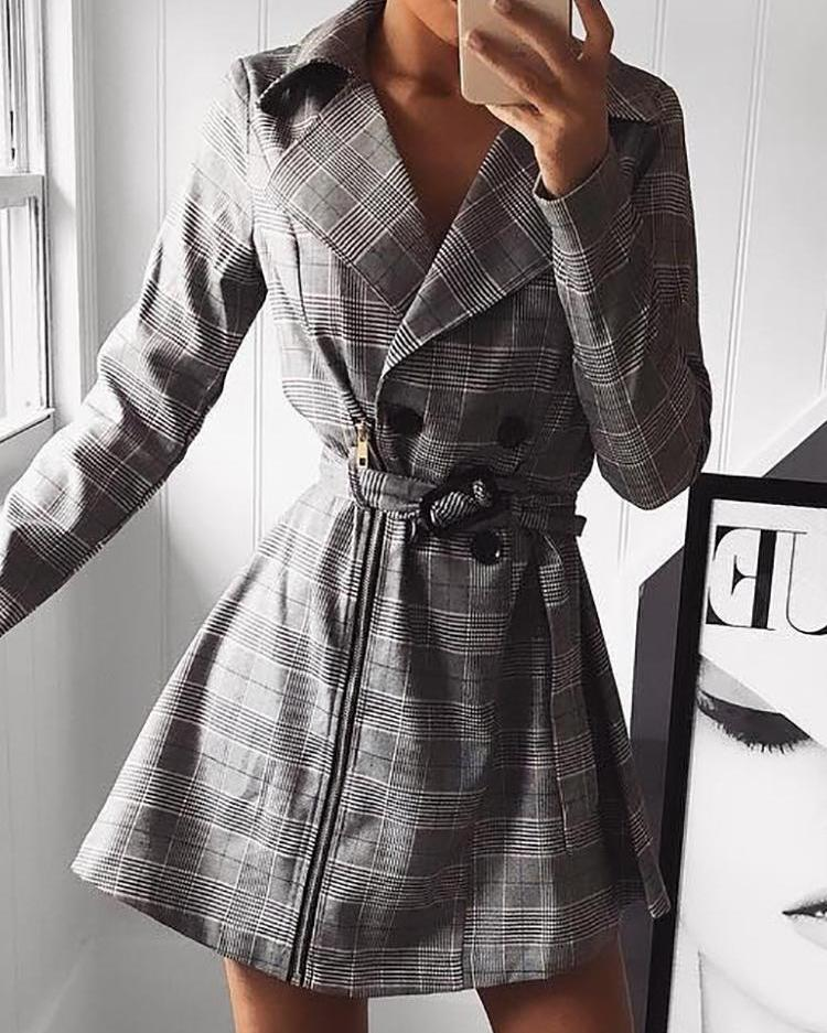 Plaid Print Zipper Design Double-Breasted Belted Dress