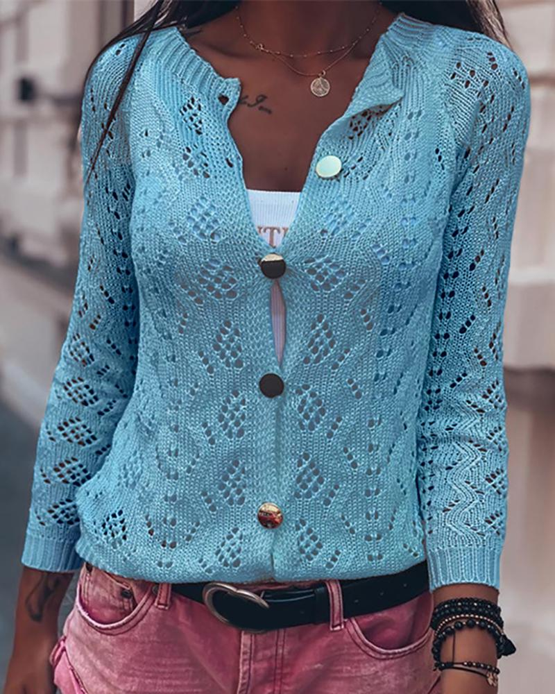 Knitted Hollow Out Button Design Cardigan фото