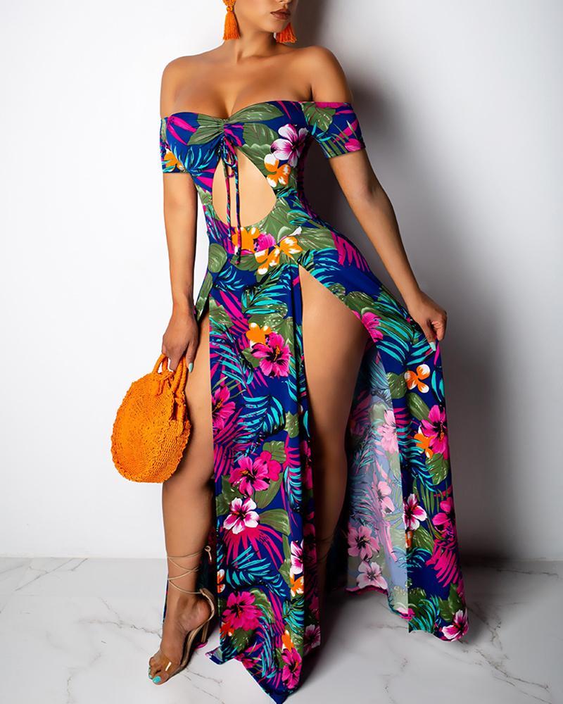 Off Shoulder Floral High Slit Maxi Dress фото
