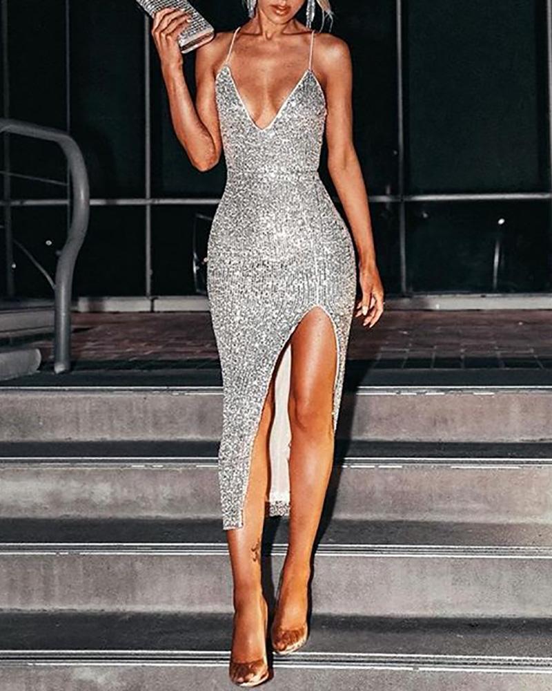 Glitter Spaghetti Strap High Slit Sequins Dress фото