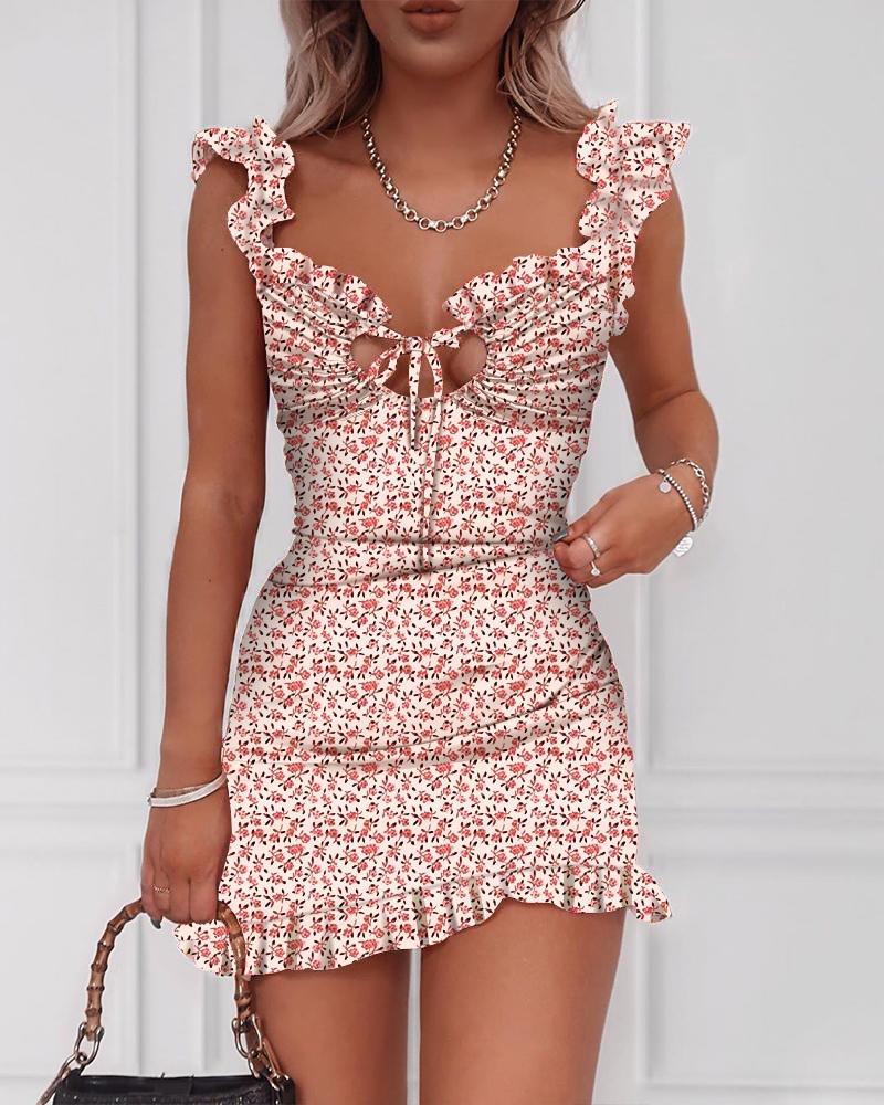 ivrose / Vestido Ruched com Estampa Floral e Detalhe Amarrado