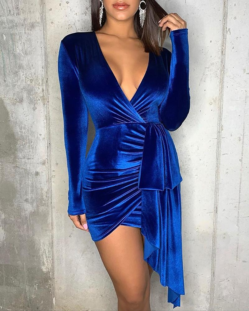 V-Neck Drape Ruched Bodycon Dress фото