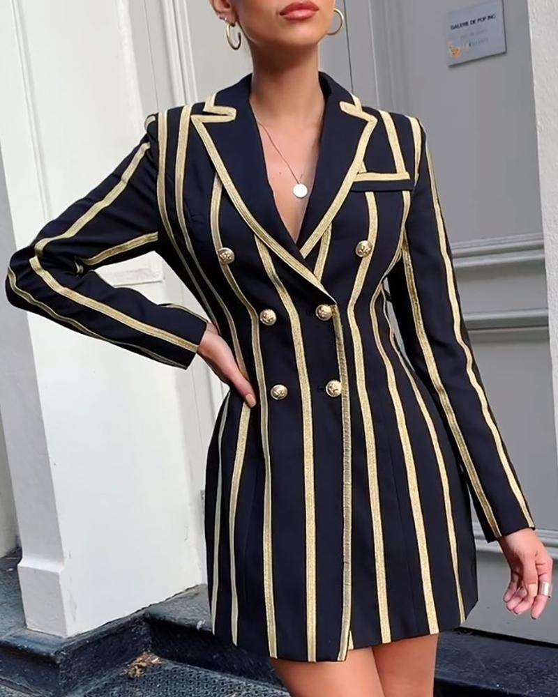 Notched Collar Double-breasted Colorblock Striped Blazer Dress, Black